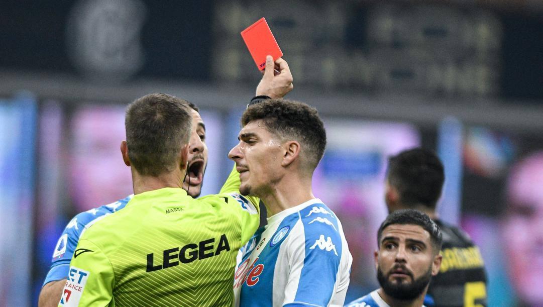 L'espulsione di Insigne in Inter-Napoli. Lapresse