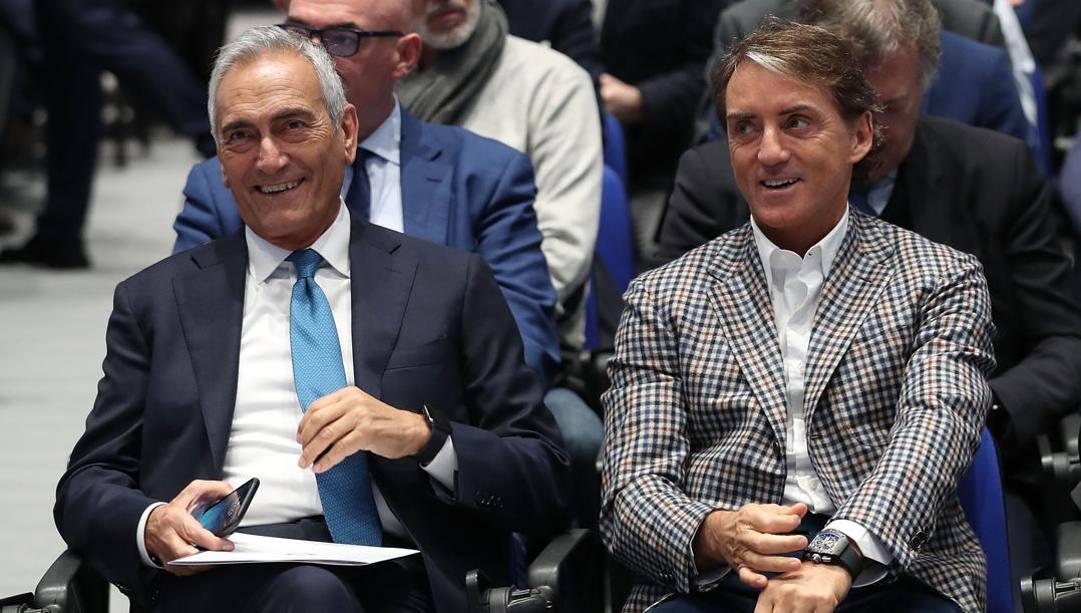 Gravina con Mancini. Getty