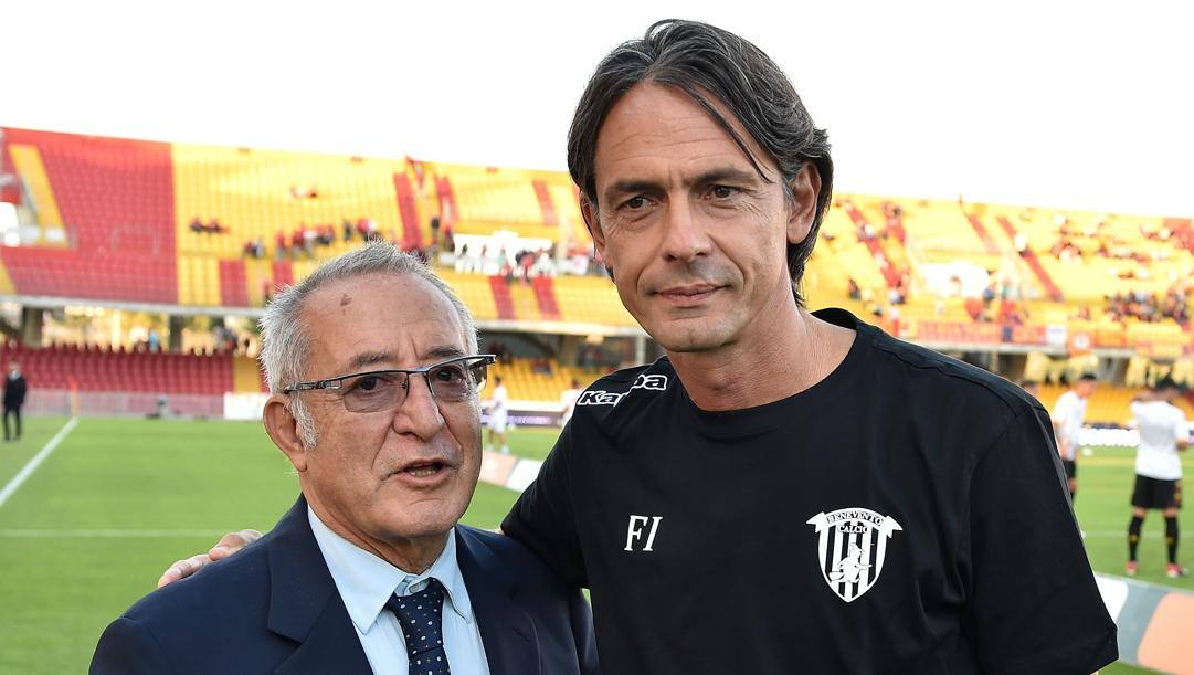 Da sinistra Oreste Vigorito con Pippo Inzaghi. Getty Images