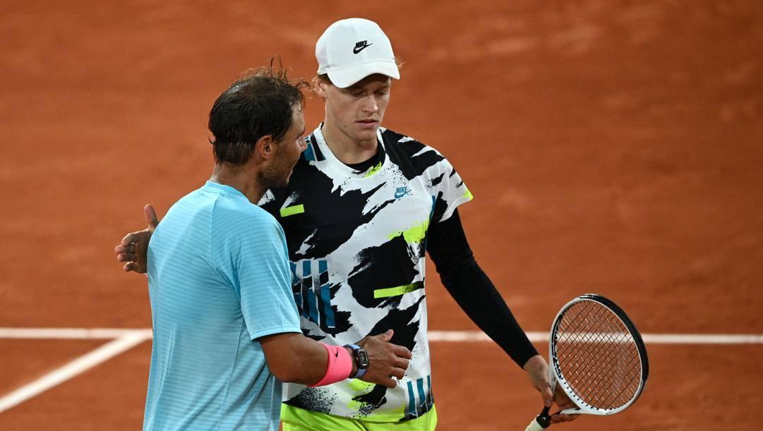 Nadal e Sinner dopo la sfida al Roland Garros EPA
