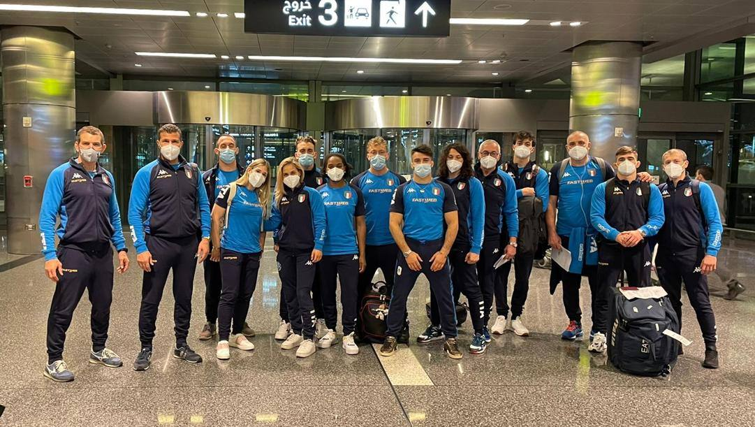 Gli azzurri in partenza per Doha