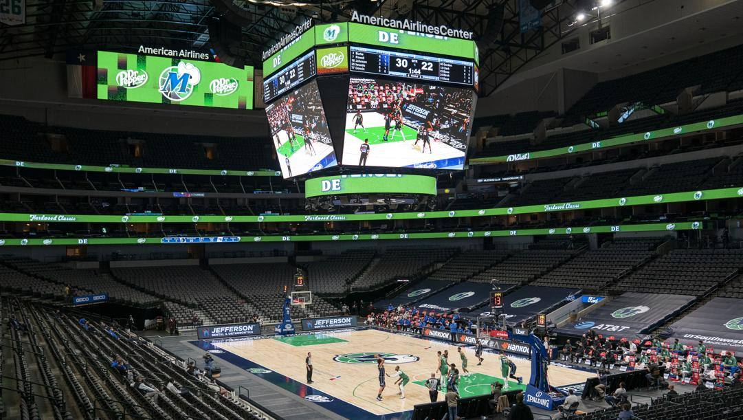 L'American Airlines Center di Dallas, dove ieri non si è giocato Mavs-Pelicans. Ap