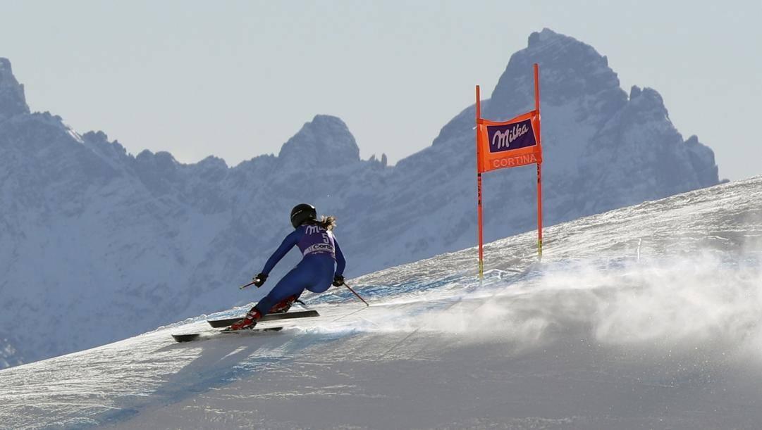 Sofia Goggia, 28 anni, in azione a Cortina. Ap