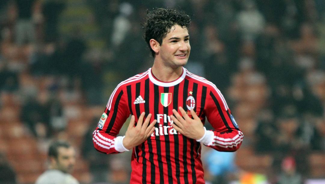 Alexander Pato, 31 anni, in maglia rossonera. Ansa