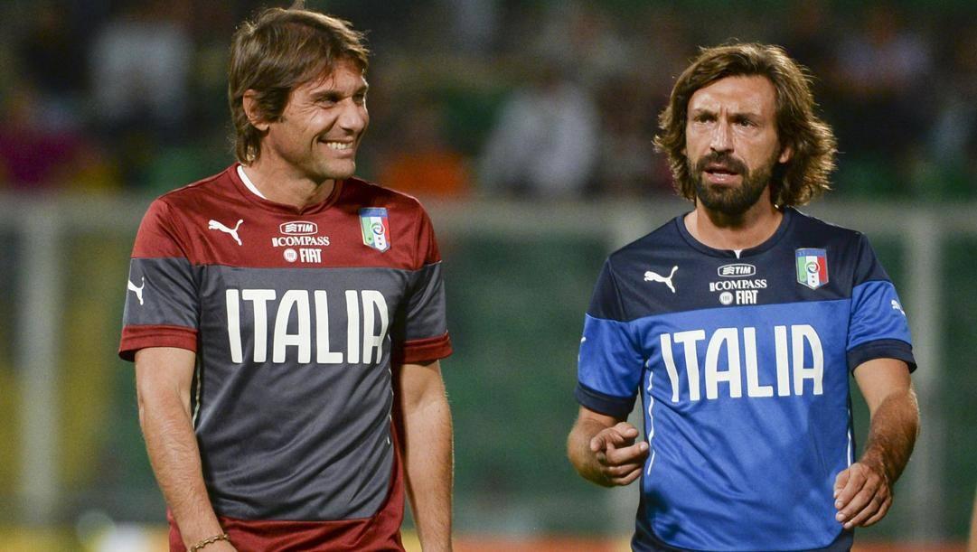 Antonio Conte e Andrea Pirlo ai tempi della Nazionale. Ansa