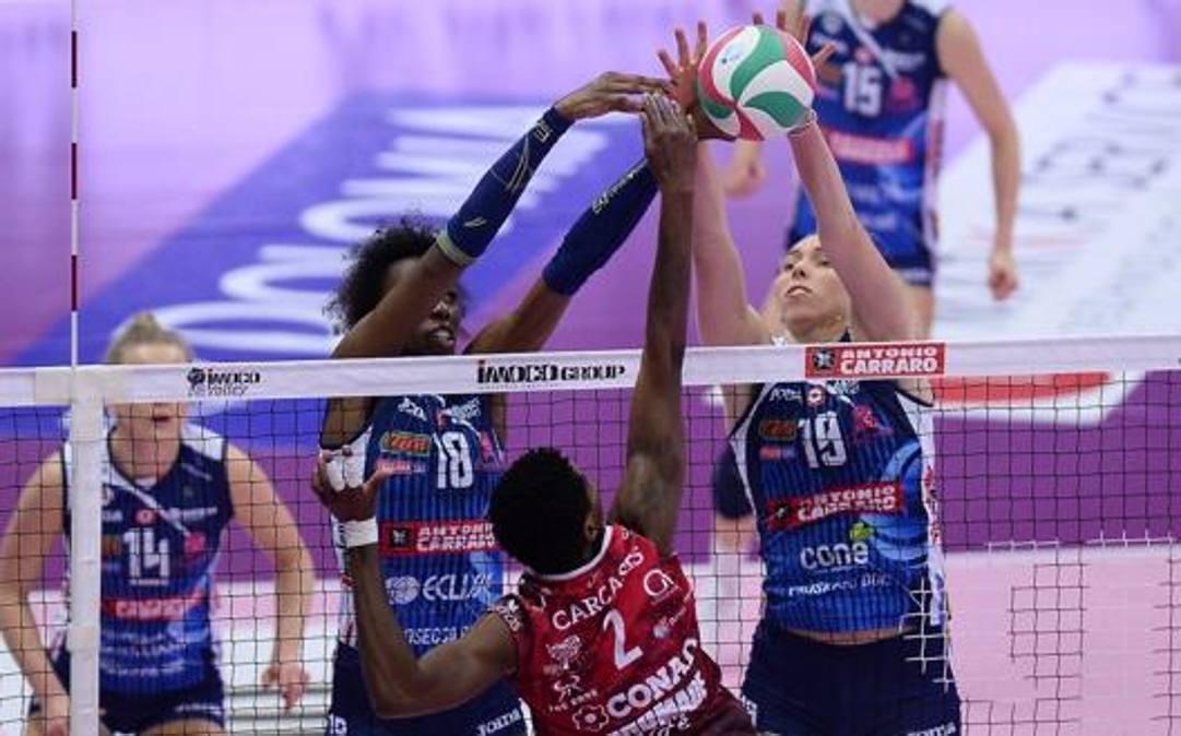 Una fase di Conegliano-Perugia. Michele Gregolin / Imoco Volley Conegliano