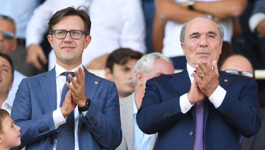 Il sindaco di Firenze Dario Nardella con il presidente della Fiorentina Rocco Commisso
