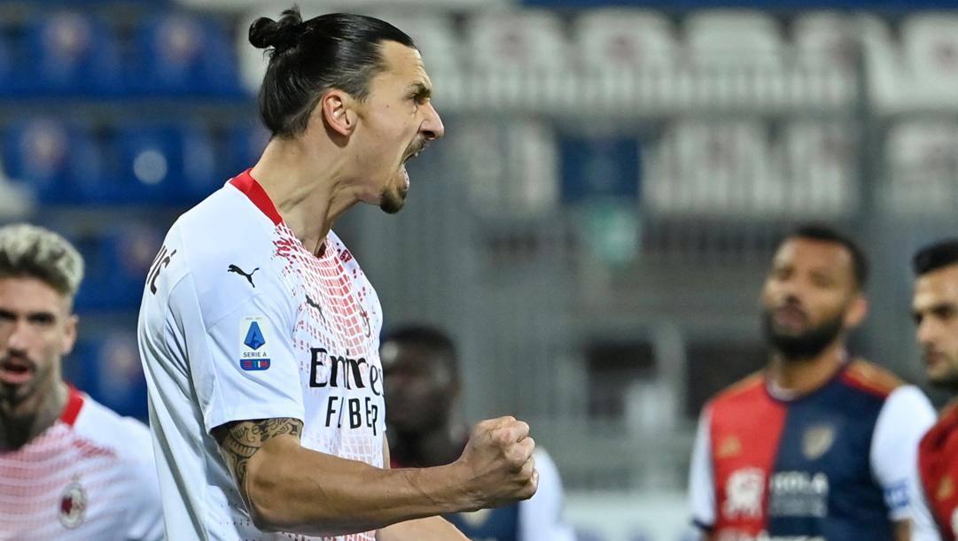 La grinta di Zlatan Ibrahimovic, trascinatore del Milan. Afp