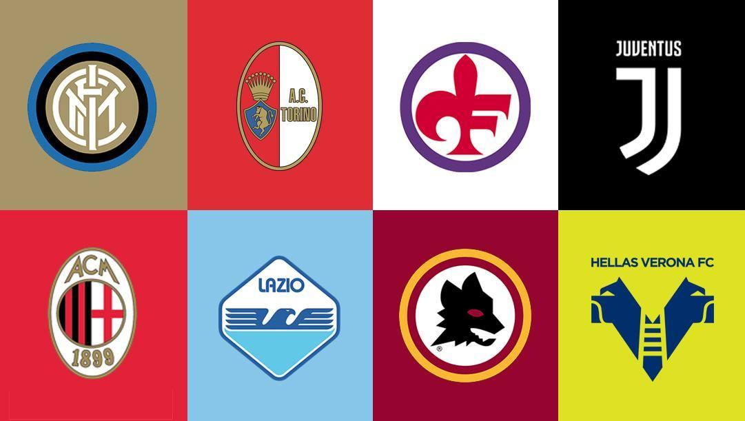 Alcuni stemmi storici e recenti delle squadre di Serie A