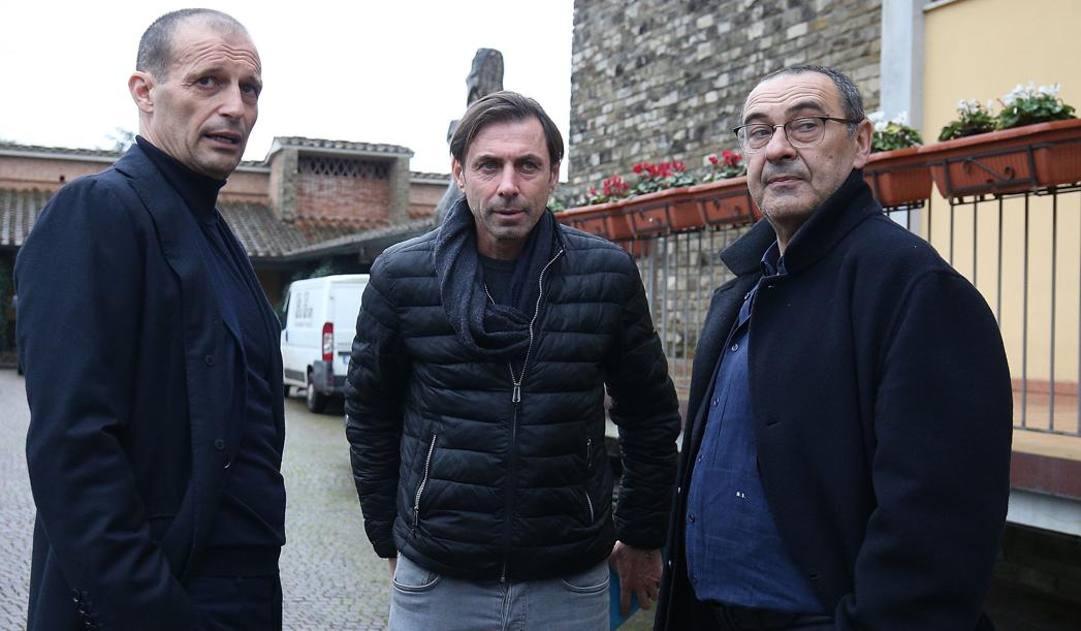 Massimo Allegri e Maurizio Sarri con Carmine Gautieri. Getty