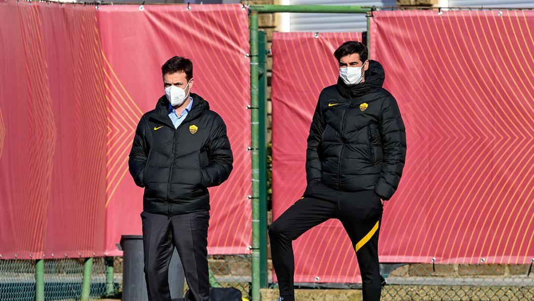 Tiago Pinto e Paulo Fonseca, dg e allenatore Roma. LAPRESSE