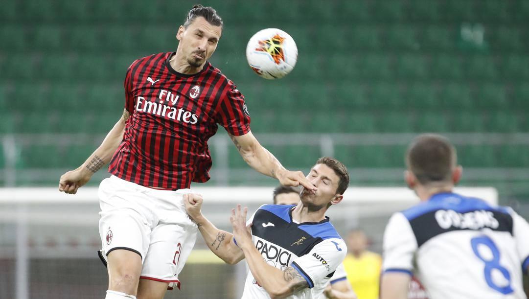 Zlatan Ibrahimovic durante l'ultimo Milan-Atalanta. Ap