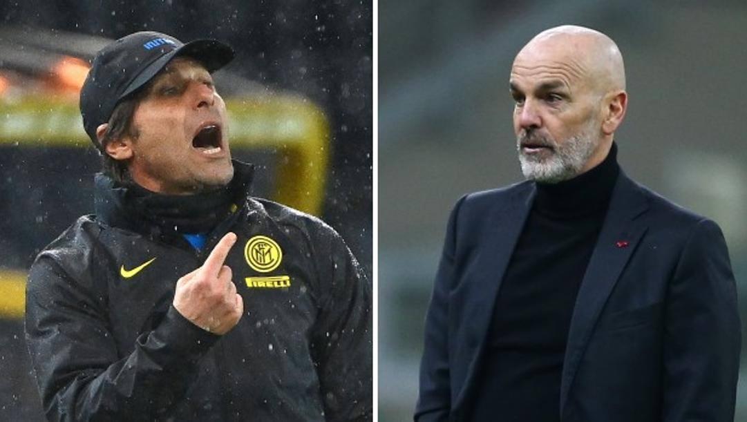 Antonio Conte, 51 anni (Afp) e Stefano Pioli, 55 anni (Lapresse).