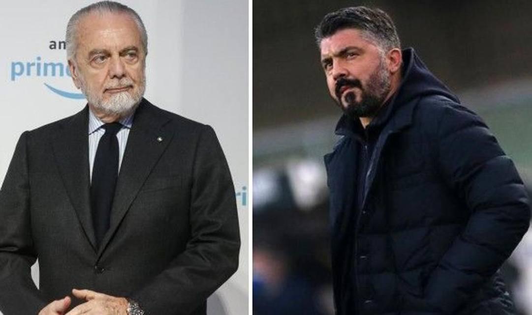 Il presidente De Laurentiis (a sinistra) e l'allenatore Gattuso (a destra)