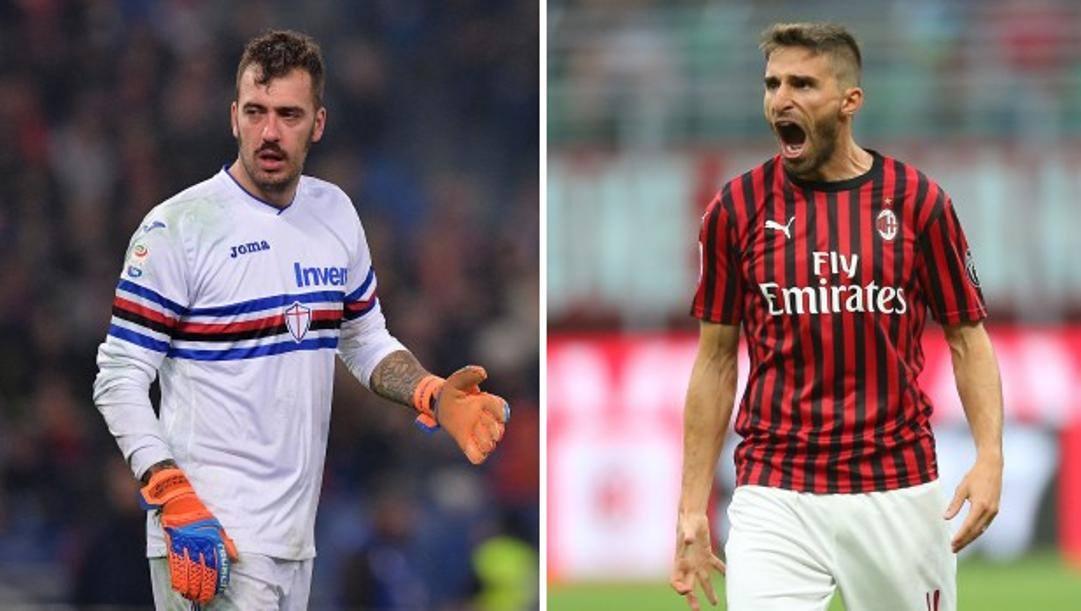 Emiliano Viviano, 35 anni, e Fabio Borini, 29 anni, in Serie A con le maglie di Sampdoria e Milan.