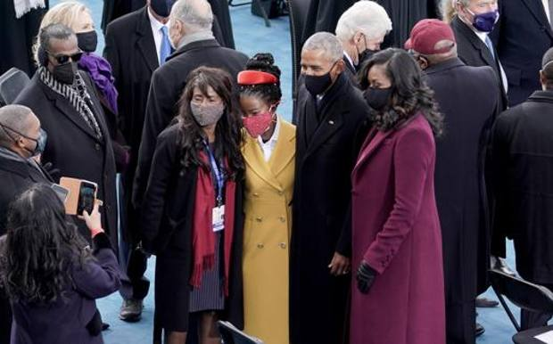 Amanda Gorman with Mr. and Mrs. Obama at Inauguration Day. Epa