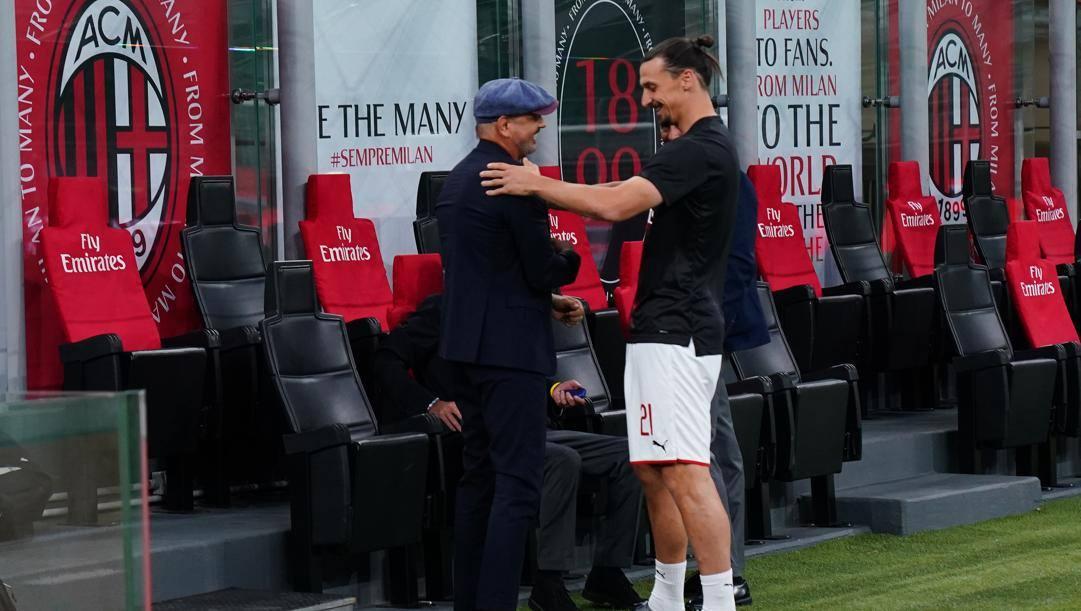 Sinisa Mihajlovic sulla panchina del Bologna e Zlatan Ibrahimovic. Lapresse
