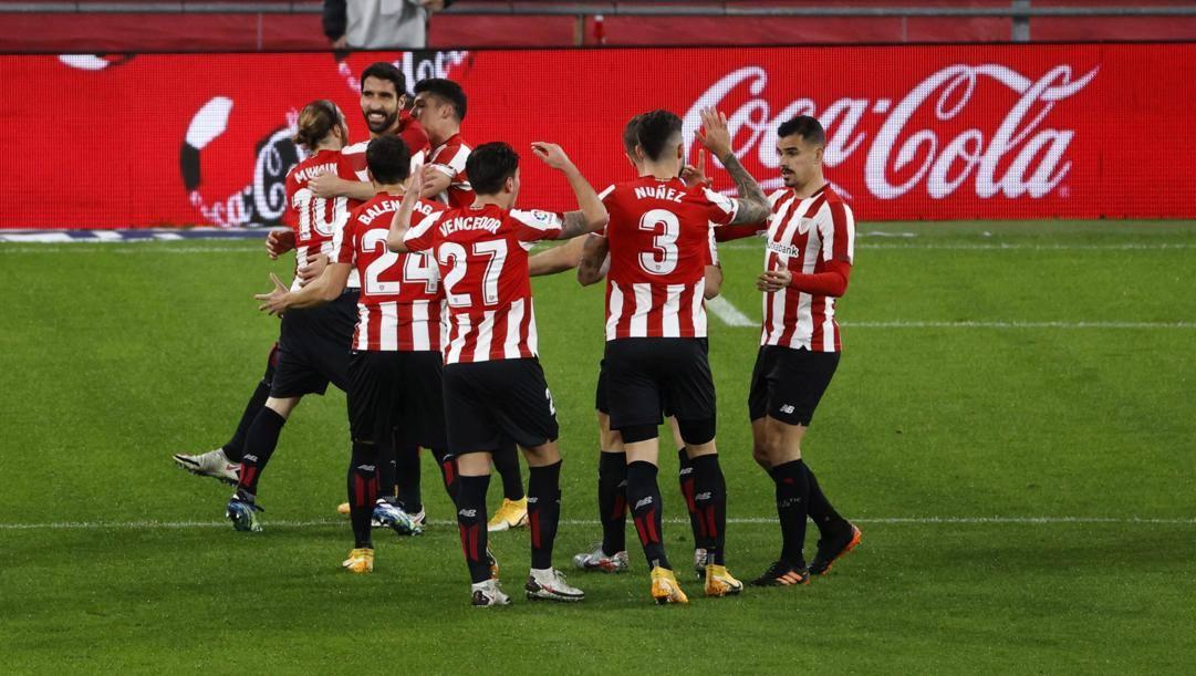 L'Athletic Bilbao festeggia la rete di Garcia al Getafe. Epa