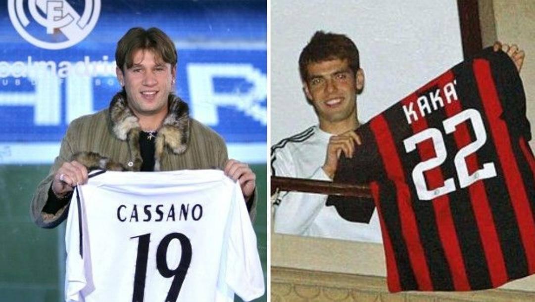 """Antonio Cassano, al Real Madrid nel gennaio 2006; Kakà, """"salvato"""" da Berlusconi nel gennaio 2009 quando era praticamente in partenza per Manchester"""