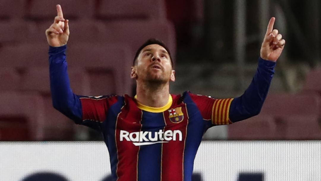 Leo Messi dopo il gol all'Athletic Bilbao FOTO: AP