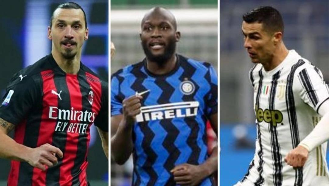 Zlatan Ibrahimovic, Romelu Lukaku e Cristiano Ronaldo