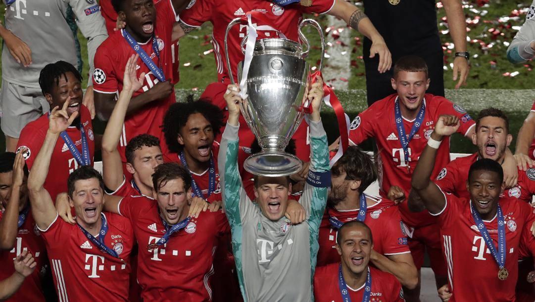 La festa del Bayern campione d'Europa 2019-20. Ap