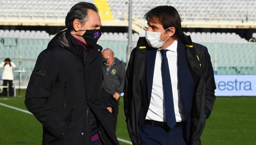 Cesare Prandelli, allenatore della Fiorentina (a sinistra) e Antonio Conte, alla guida dell'Inter (a destra). Getty Images