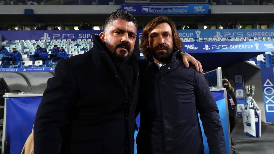 Gattuso e Pirlo (Foto di Marco Luzzani - Getty Images)