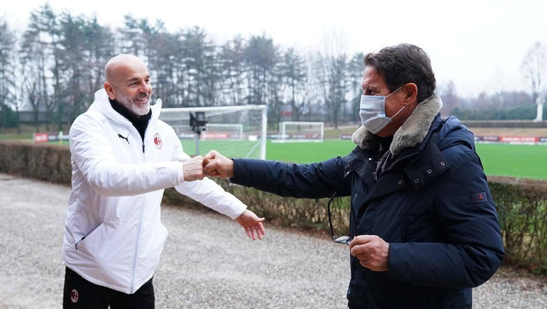 Stefano Pioli con Fabio Capello a Milanello. LaPresse