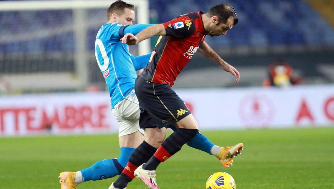 Goran Pandev contrastato da Piotr Zielinski. LaPresse