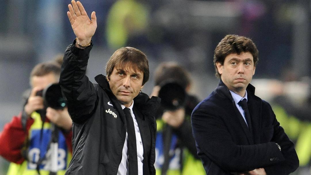 Andrea Agnelli con Antonio Conte ai tempi della Juve. Ansa