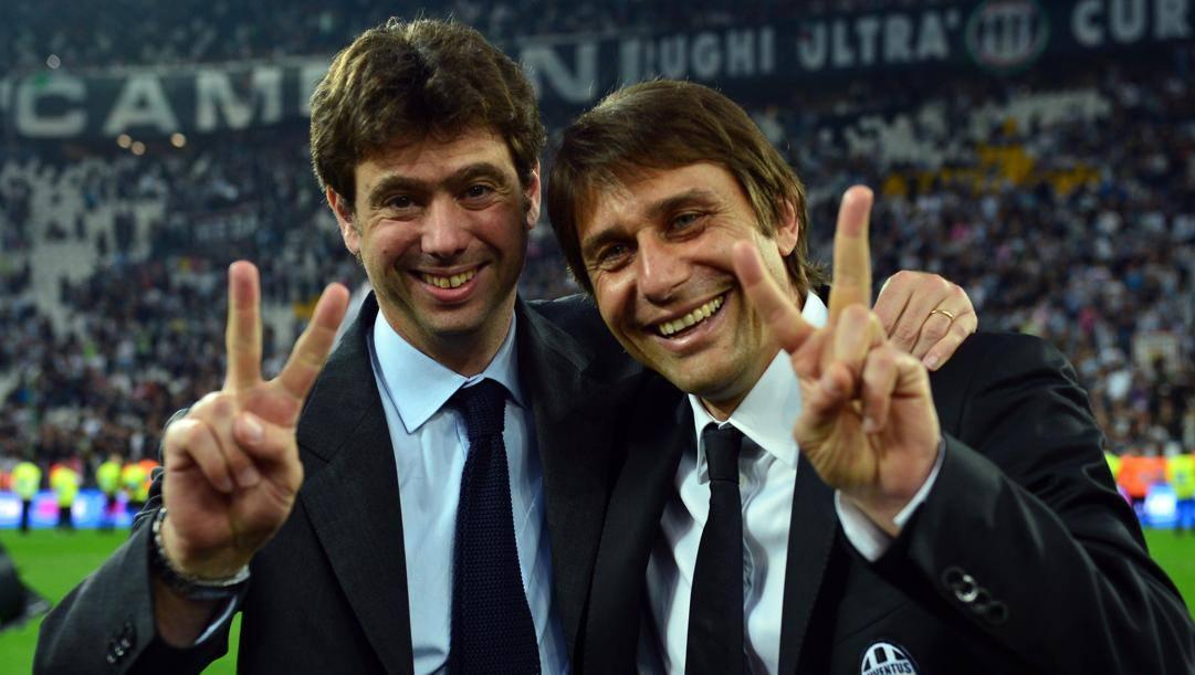 Andrea Agnelli e Antonio Conte dopo lo scudetto 2012-13. Afp