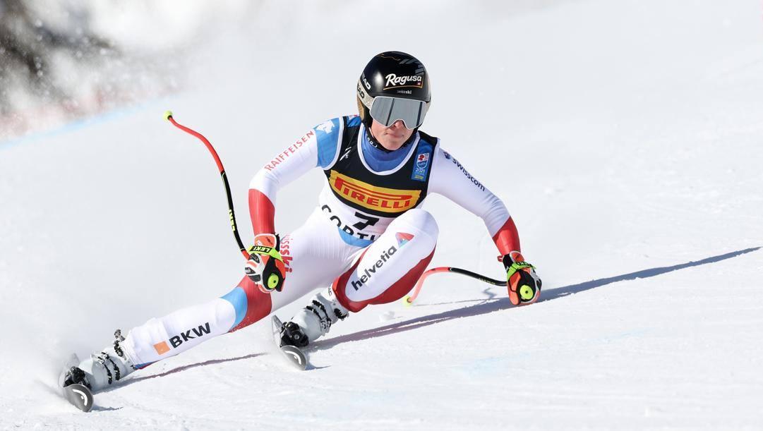 Lara Gut-Behrami in azione a Cortina. Getty