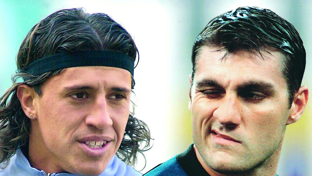 Hernan Crespo (45 anni) e Christian Vieri (47), insieme a Milano nella stagione 2002-03. RCS QUOTIDIANI