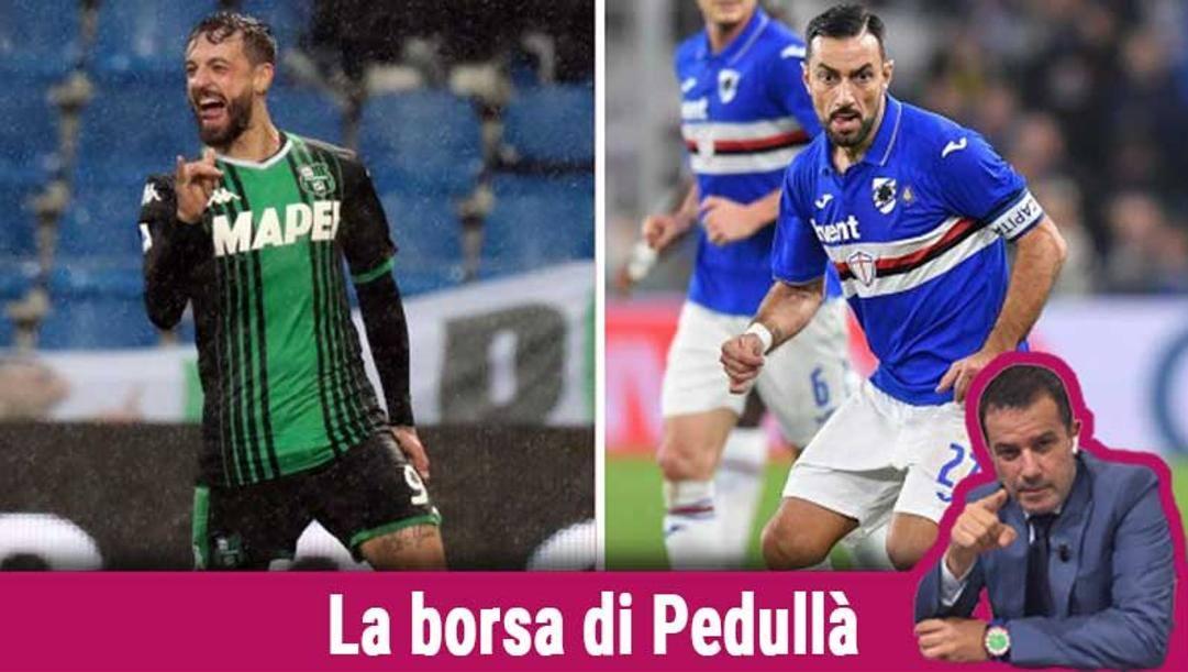 Ciccio Caputo (a sinistra) e Fabio Quagliarella Ansa/Lapresse