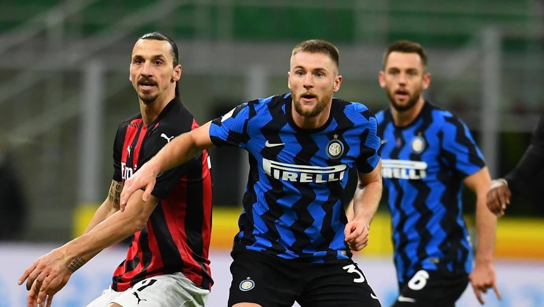 Ibra (Milan) e Skriniar (Inter) nell'ultimo Derby giocato in Coppa Italia. Getty Images