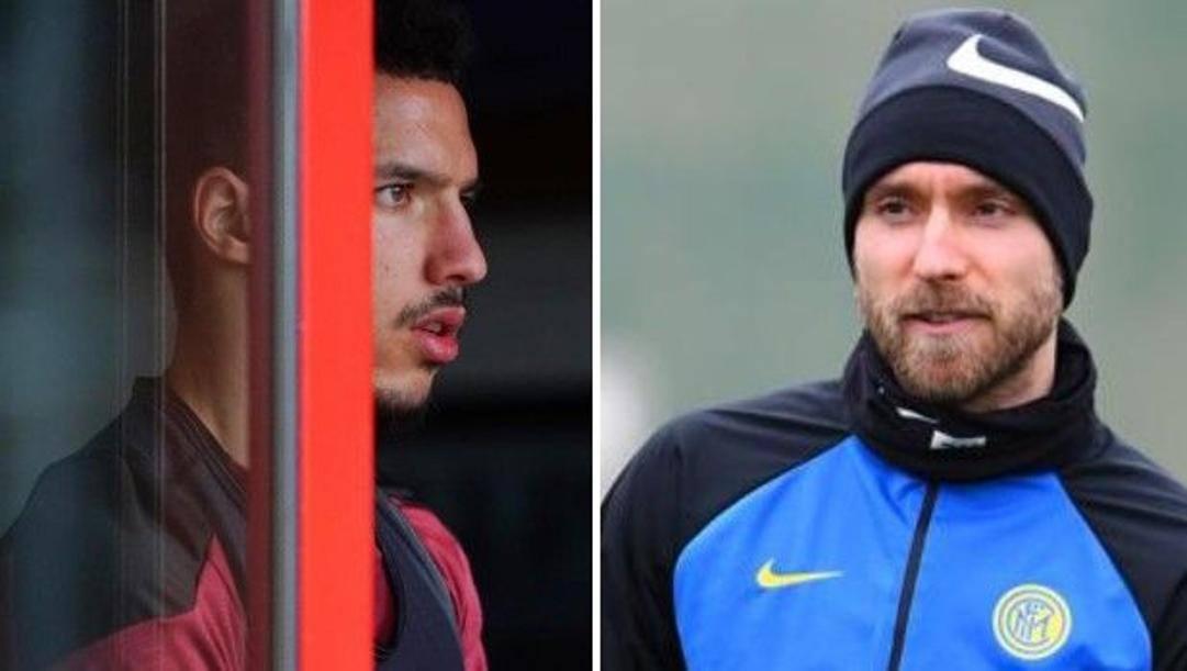 A sinistra Ismael Bennacer (Milan), a destra Christian Eriksen (Inter)