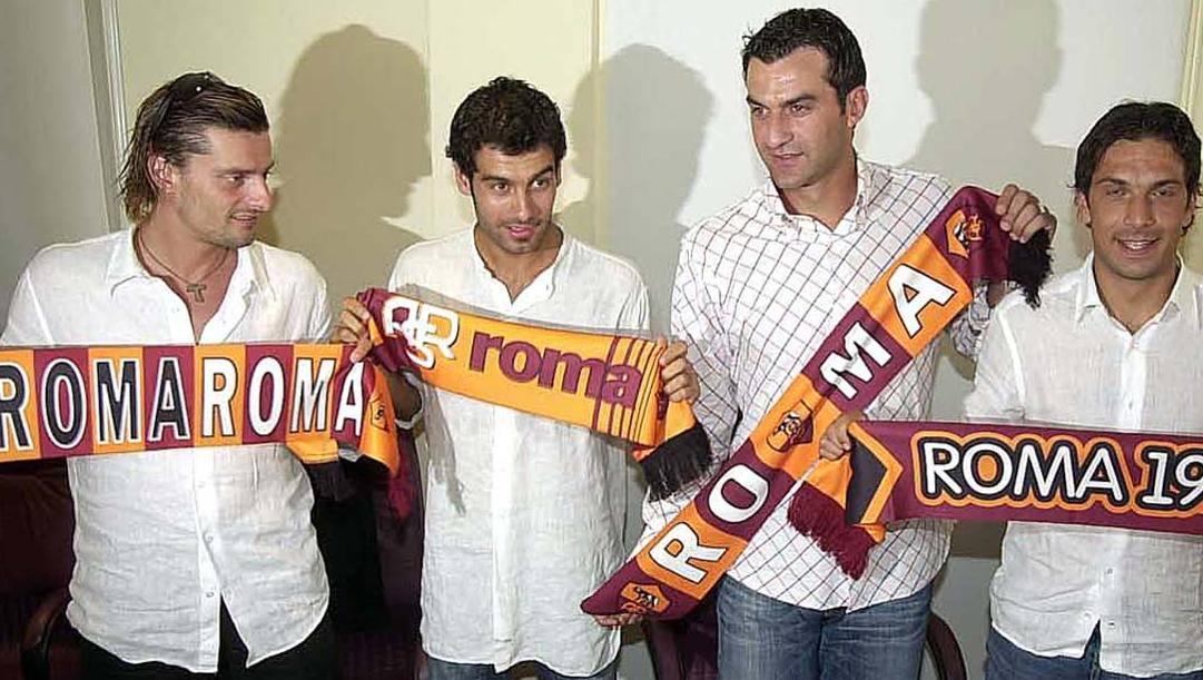 Sartor, Guardiola, Dellas e Bombardini il giorno della presentazione al loro arrivo alla Roma. Gmt