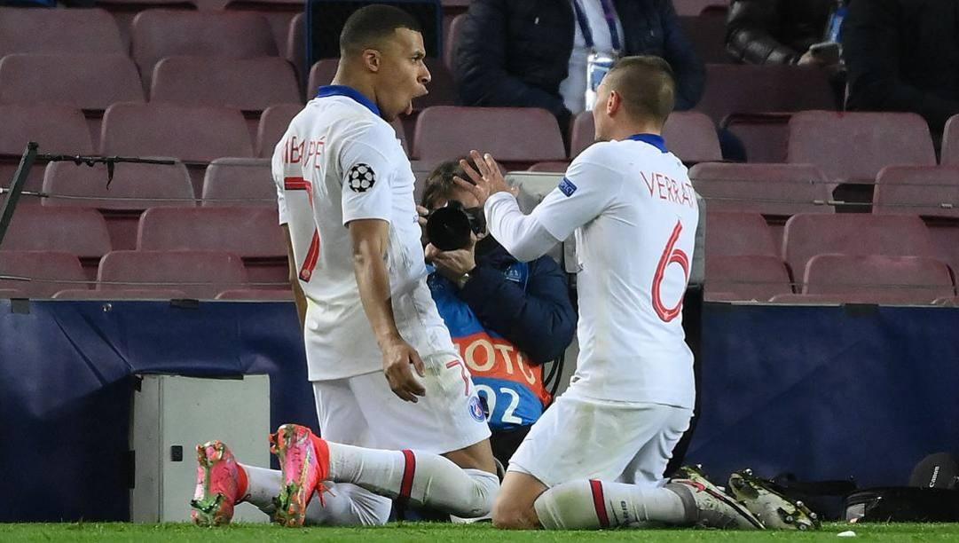 Kylian Mbappé, 22 anni, e Marco Verratti, 28. Afp
