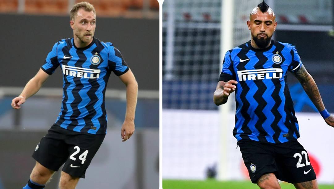 Christian Eriksen (29 anni) e Arturo Vidal (33). ANSA-LAPRESSE