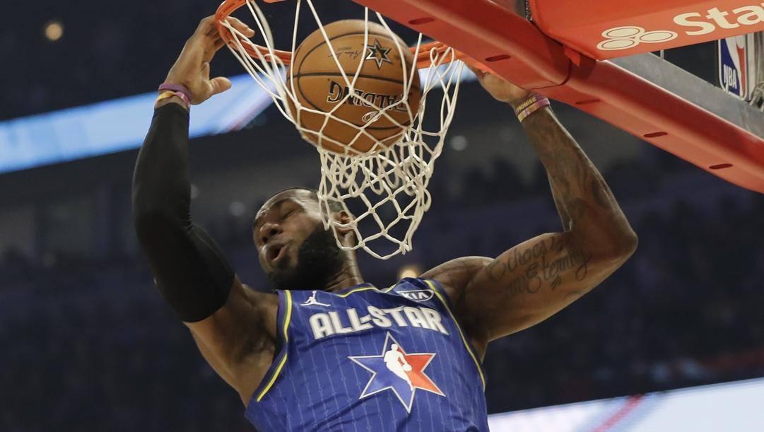 LeBron James, 36 anni, durante l'All Star Game 2020 a Chicago. LaPresse