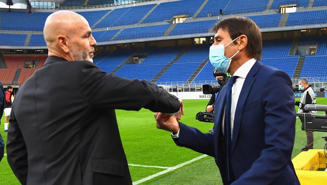 Stefano Pioli e Antonio Conte prima del match d'andata. Getty