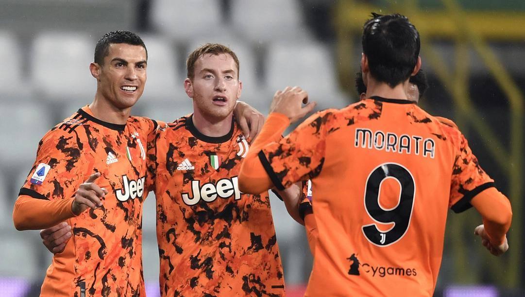 Da sinistra Cristiano Ronaldo, Dejan Kulusevski e Alvaro Morata. Getty Images