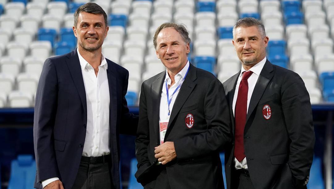 Franco Baresi tra Paolo Maldini e Daniele Massaro