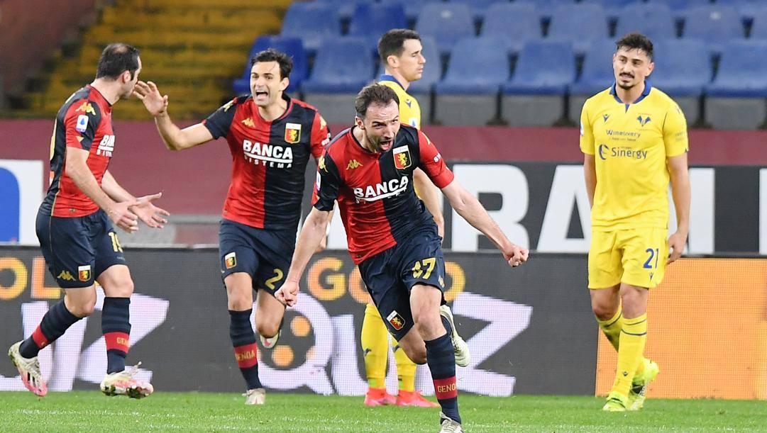 L'esultanza di Badelj dopo il gol del pareggio. Lapresse
