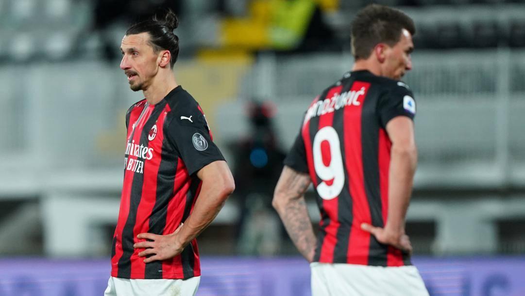 Zlatan Ibrahimovic e Mario Mandzukic. LaPresse