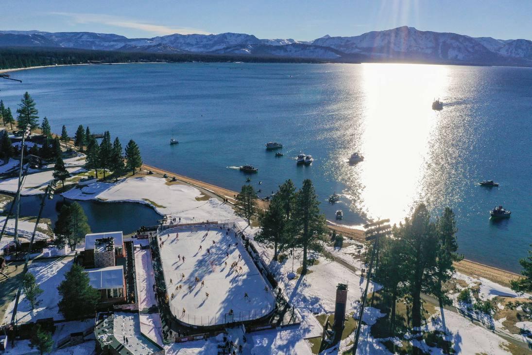 Una vista dall'alto dell'impianto costuito sulle rive del Lago Tahoe