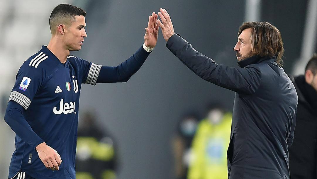 Cristiano Ronaldo, 36 anni, e Andrea Pirlo, 41. Ansa