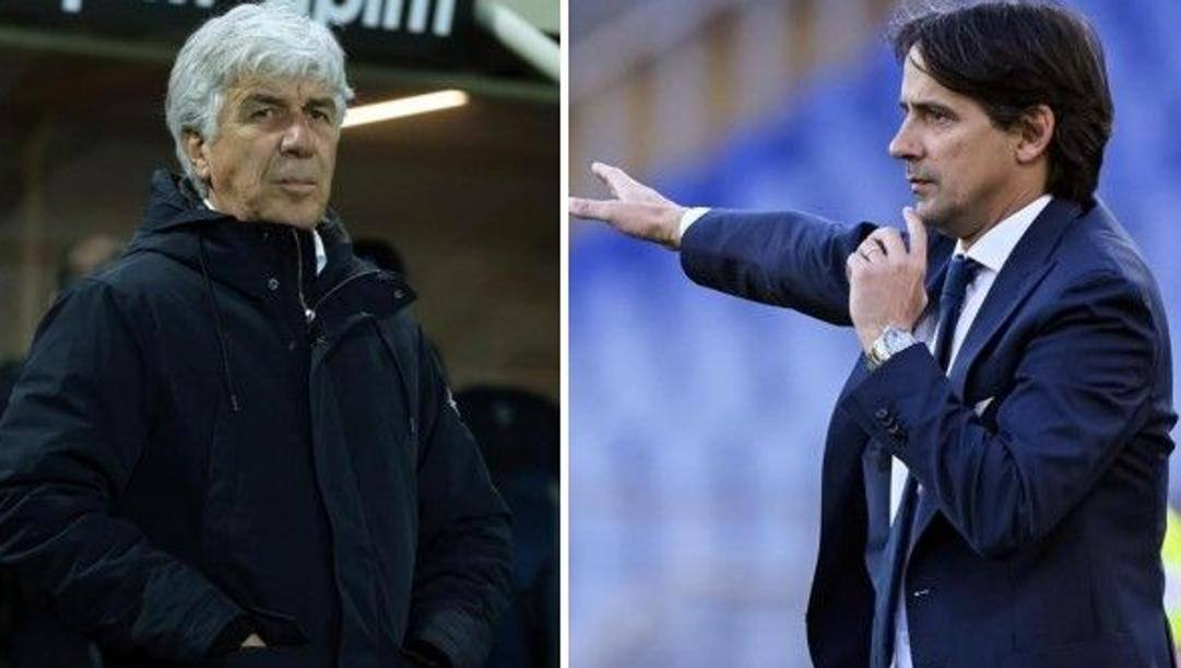 A sinistra Gian Piero Gasperini (Atalanta), a destra Simone Inzaghi (Lazio)