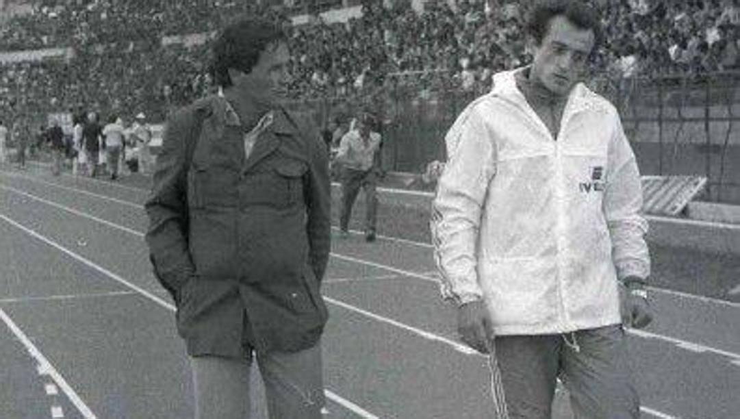 Franco Mascolo, a sinistra, con Pietro Mennea, di cui è stato allenatore fino al 1971